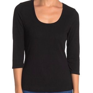Susina 3/4 Sleeves Scooped Neck Rib Knit Top.